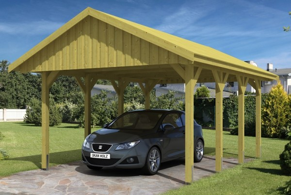 Skan Holz Satteldach-Carport Sauerland 430 x 600 cm, imprägniert, mit Dachschalung