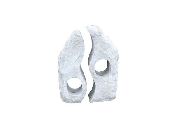 Marmor Wasserspiel Twin Rocks, 60 cm, weiss-grau, gebohrt
