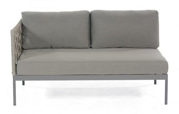 Sonnenpartner Lounge-Eckmodul Vogue, 2-Sitzer links, Kunststoffrundgeflecht Polyrope, grau