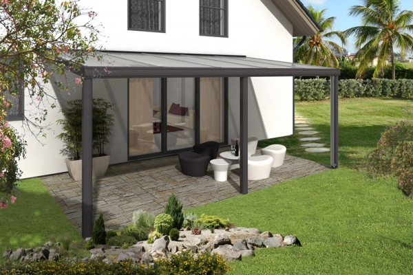 Skan Holz Aluminium-Terrassenüberdachung Garda 541 x 257 cm, anthrazit,  Doppelstegplatten