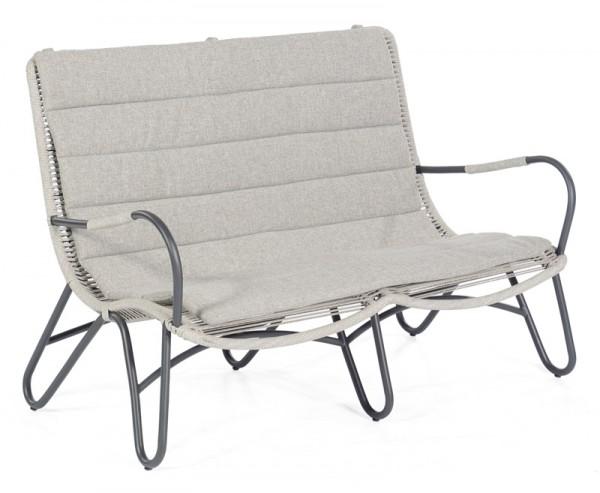 Sonnenpartner Lounge-Sofa Charité, Aluminium / Kunststoffgeflecht Polyrope silbergrau