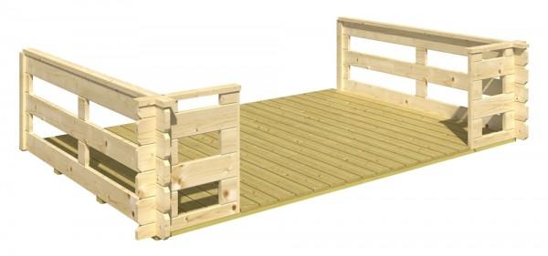 Skan Holz Terrasse 300/340 x 200 cm, passend für 28 mm Blockbohlenhäuser