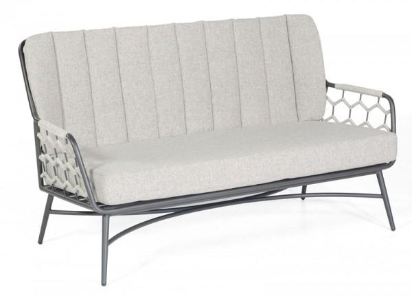 Sonnenpartner Lounge-Sofa Yale, Aluminium / Kunststoffgeflecht Polyrope silbergrau, inkl. Kissen
