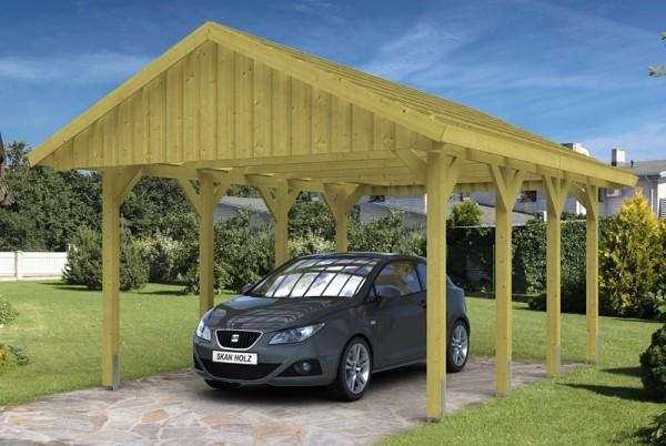 Skan Holz Satteldach-Carport Sauerland 430 x 600 cm, imprägniert, mit Dachlattung