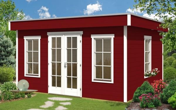 Skan Holz Gartenhaus Basel 2, 420 x 380 cm, 45plus, schwedenrot
