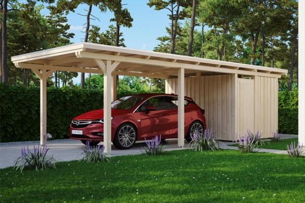 Skan Holz Flachdach-Carport Emsland, Leimholz, 354 x 846 cm, Aluminium-Dachplatten, mit Abstellraum