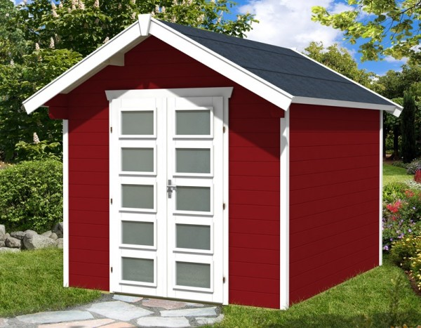 Skan Holz Gartenhaus Hengelo, 250 x 300 cm, 28 mm, schwedenrot