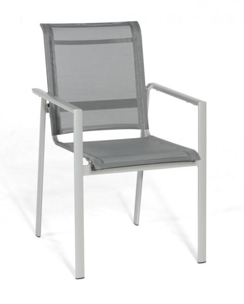 Sonnenpartner Stapelsessel Esprit, Aluminium silber / Textilgewebe anthrazit