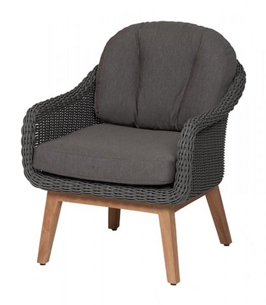 Diamond Garden Lounge Sessel Memphis, DiGaLan®-Polyrattangeflecht/Premium Teak