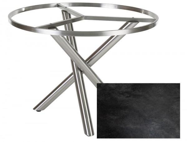 Diamond Garden Tisch San Marino rund, Edelstahl/Schiefer, Ø 120 cm