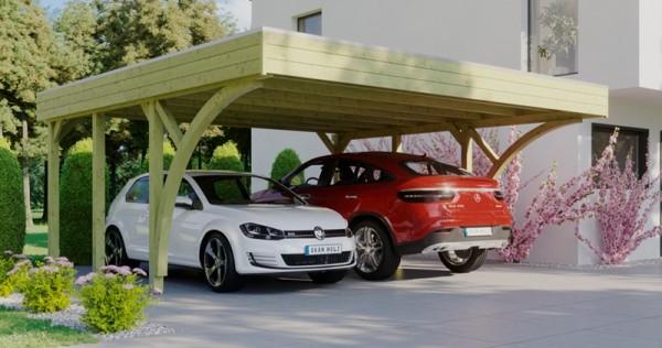 Skan Holz Flachdach-Carport Friesland 557 x 555 cm, Aluminium-Dachplatten, mit 2 Einfahrtsbogen