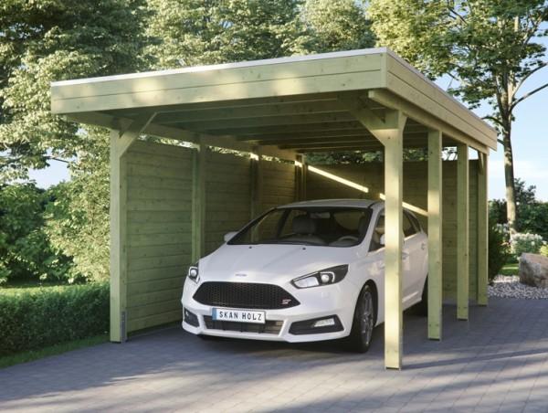 Skan Holz Flachdach-Carport Friesland 314 x 555 cm, Aluminium-Dachplatten, mit Seiten- und Rückwand