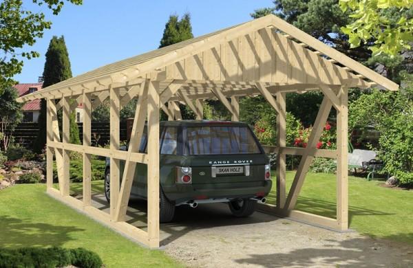 Skan Holz Fachwerk-Carport Schwarzwald, Konstruktionsvollholz, 424 x 772 cm, mit Dachlattung