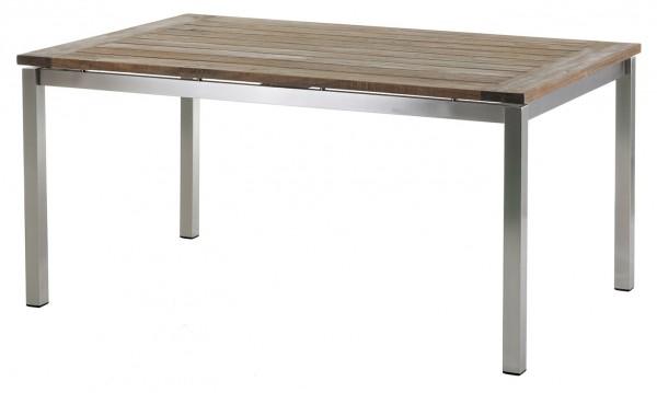 Diamond Garden Tisch San Marino, Edelstahl/Recycled Teak Gealtert, 160 x 100 cm