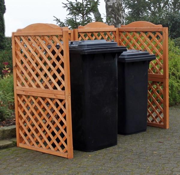 Abgebildete Mülltonnen nicht im Lieferumfang enthalten.