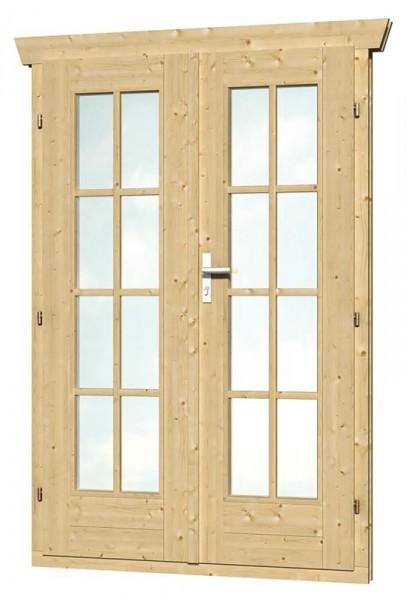 Skan Holz Doppeltür 123,4 x 193 cm für 28 mm Blockbohlen, vollverglast