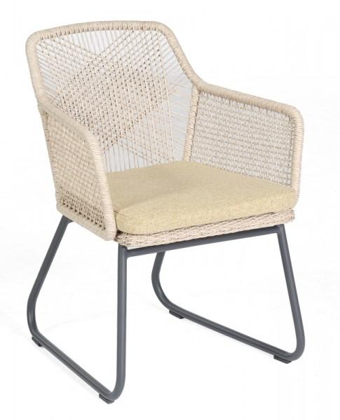 Sonnenpartner Dining-Sessel Couture, Aluminium anthr. / Kunststoffgeflecht white-shell, inkl. Kissen