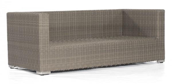 Abbildung zeigt das Sofa mit Kunststoffgeflecht in stone-grey.
