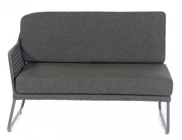 Sonnenpartner Lounge-Eckmodul Poison, 2-Sitzer links, Alu anthr. / Polyrope dunkelgrau, inkl. Kissen