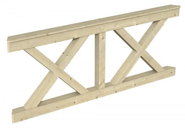 Skan Holz Brüstung 210 x 84 cm, Andreaskreuz, für Pavillon Nice Größe 4