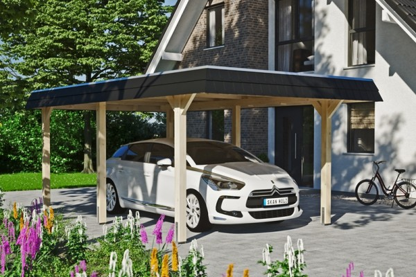 Skan Holz Walmdach-Carport Wendland, Leimholz, 362 x 628 cm, Aluminium-Dachplatten