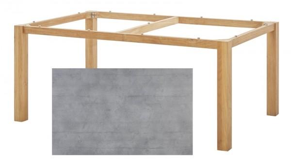 Diamond Garden Tisch San Marino, Premium Teak Natur/Schalbrett Beton, 200 x 100 cm