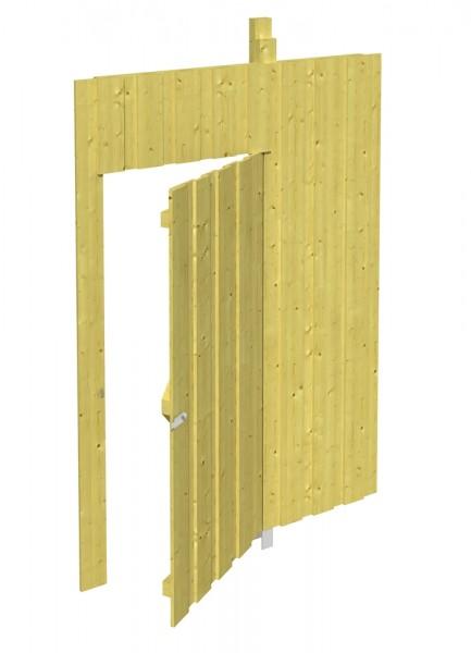 Skan Holz Seitenwand mit Tür 141 x 220 cm, Deckelschalung, imprägniertes Nadelholz