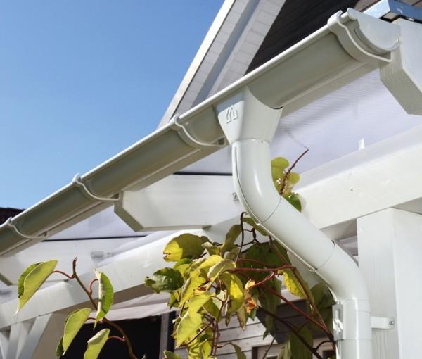 Skan Holz Metall-Regenrinnen-Set 648 cm Länge, weiß, 2er-Set für Satteldach-Carports