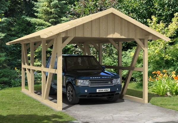 Skan Holz Fachwerk-Carport Schwarzwald, Konstruktionsvollholz, 424 x 600 cm, mit Dachschalung