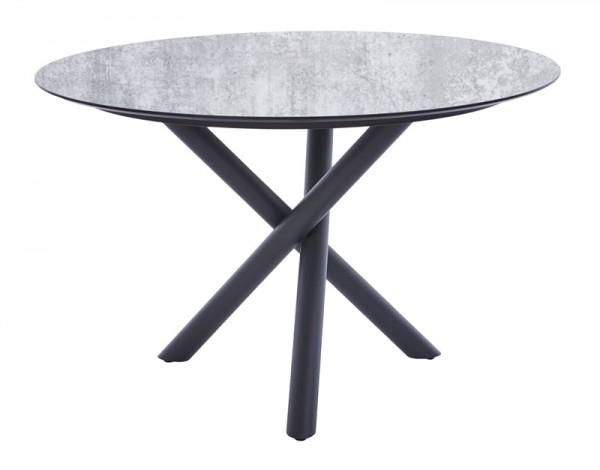 Diamond Garden Tisch San Marino rund, Edelstahl, dunkelgrau/Granit hell, Ø 120 cm