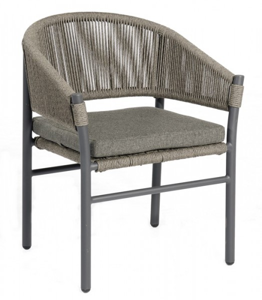 Sonnenpartner Sessel Mystique, Kunststoffrundgeflecht Polyrope, grau inkl. Sitzkissen