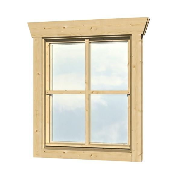 Skan Holz Dreh-Kipp-Einzelfenster 57,5 x 70,5 cm für 45 mm Blockbohlen, Anschlag rechts