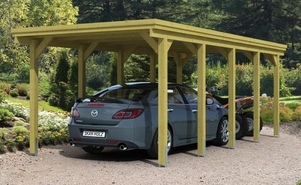 Skan Holz Flachdach-Carport Holstein 316 x 707 cm, imprägniert, Aluminium-Dachplatten
