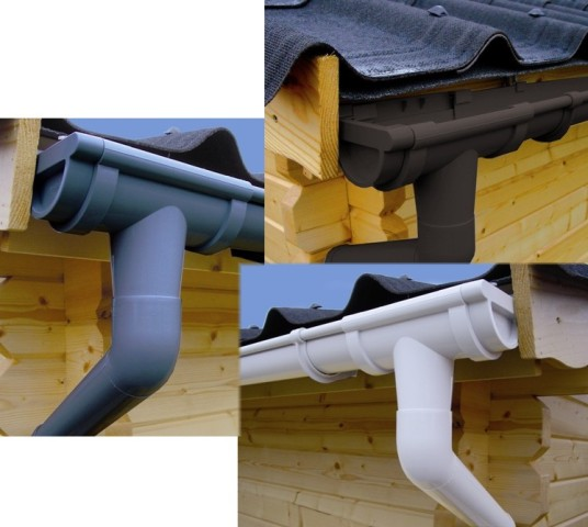 dachrinnen set 402ax pultdach bis 4 5 m kunststoff. Black Bedroom Furniture Sets. Home Design Ideas