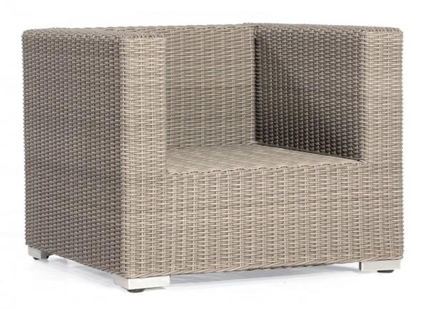 Abbildung zeigt den Sessel mit Kunststoffgeflecht in stone-grey.