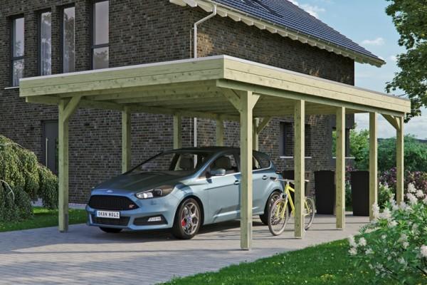 Skan Holz Flachdach-Carport Friesland 397 x 708 cm, imprägniert, Aluminium-Dachplatten