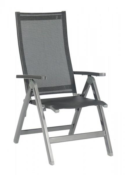 Sonnenpartner Klappsessel Fresno, Aluminium anthrazit / Textilgewebe schwarz