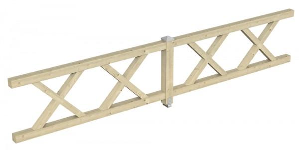 Skan Holz Brüstung 465 x 84 cm, Andreaskreuz, für Pavillons Cannes und Orleans Größe 4