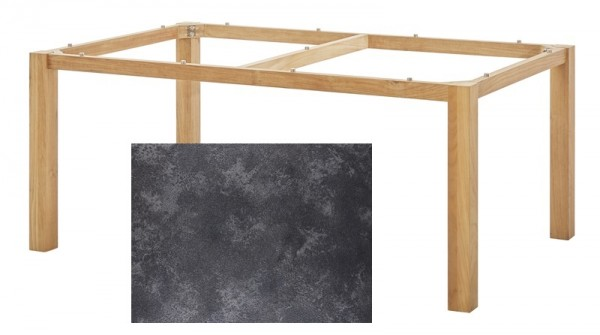 Diamond Garden Tisch San Marino, Premium Teak Natur/Granit dunkel, 200 x 100 cm