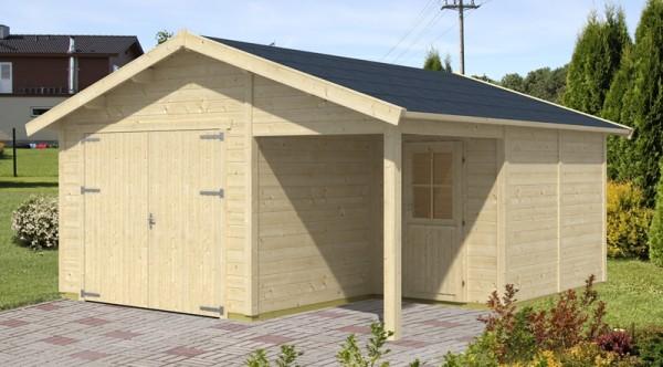 Skan Holz Holzgarage Varberg 2, 45 mm, 500 x 525 cm, unbehandelt