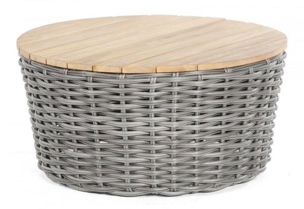 Sonnenpartner Lounge-Tisch Sands, Aluminium / Kunststoffgeflecht charcoal / Teakholz, Ø 91 cm