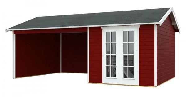 Skan Holz Gartenhaus Tilburg, 613 x 380 cm, 28 mm, schwedenrot