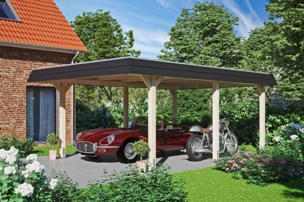 Skan Holz Walmdach-Carport Wendland, Leimholz, 409 x 628 cm, Aluminium-Dachplatten