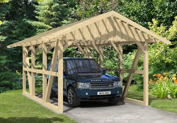 Skan Holz Fachwerk-Carport Schwarzwald, Konstruktionsvollholz, 424 x 600 cm, mit Dachlattung