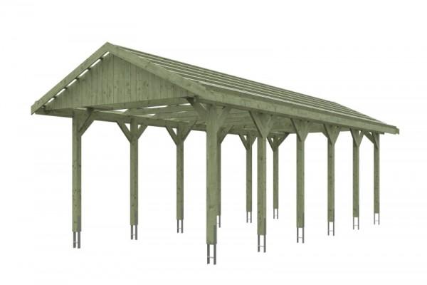 Skan Holz Satteldach-Carport Wallgau 380 x 900 cm, imprägniert