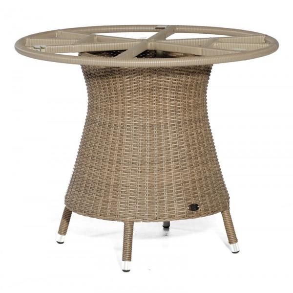 Sonnenpartner Tisch Base-Polyrattan rund, Kunststoffgeflecht rustic-stream, Ø 100 cm