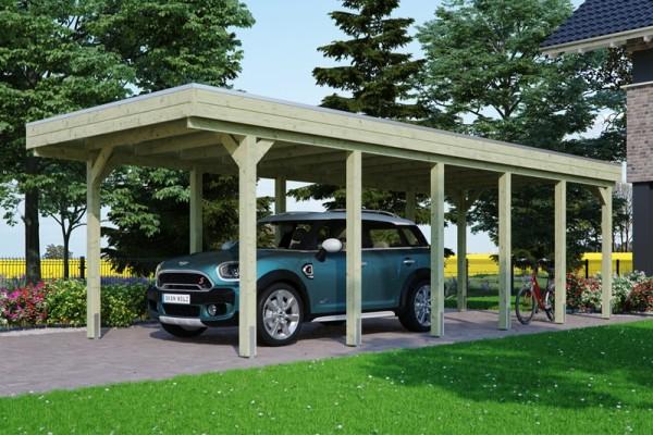 Skan Holz Flachdach-Carport Friesland 314 x 860 cm, imprägniert, Aluminium-Dachplatten