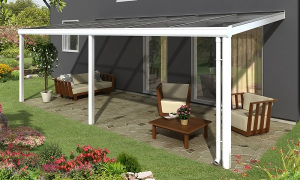 Skan Holz Aluminium-Terrassenüberdachung Monza 648 x 257 cm, weiß,  Verbund-Sicherheits-Glas