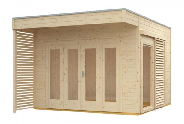 Skan Holz Gartenhaus Tokio 2, 340 x 340 cm, doppelschalig, unbehandelt