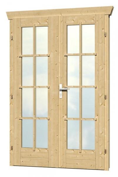 Skan Holz Doppeltür 117,5 x 186,5 cm für 45 mm Blockbohlen, vollverglast